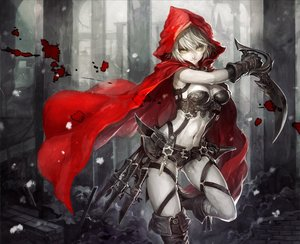 Rating: Safe Score: 427 Tags: armor blood breasts cape cleavage hoodie little_red_riding_hood navel original red_riding_hood senano-yu sword weapon white_hair yellow_eyes User: Flandre93