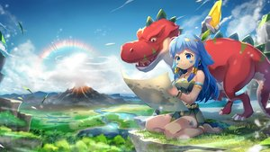 Rating: Safe Score: 34 Tags: animal barefoot blue_eyes blue_hair capura_lin clouds headband landscape long_hair original paper rainbow scenic sky water User: sadodere-chan