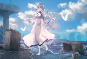 Rating: Safe Score: 39 Tags: animal aqua_eyes barefoot bird breasts cleavage clouds dress long_hair original ruins see_through sky tagme_(artist) water white_hair User: RyuZU
