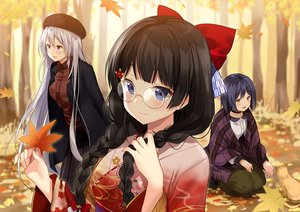 Rating: Safe Score: 20 Tags: animal autumn black_hair blue_eyes blue_hair blush bow braids cat choker forest glasses hat higuchi_kaede japanese_clothes kimono kurot leaves long_hair nijisanji purple_eyes shizuka_rin short_hair skirt tree tsukino_mito twintails white_hair yellow_eyes User: BattlequeenYume