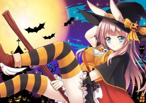 Rating: Safe Score: 39 Tags: animal animal_ears aqua_eyes bat bow breasts bunny_ears cleavage guhua67 halloween hat long_hair moon original pink_hair pumpkin skirt thighhighs witch witch_hat User: RyuZU