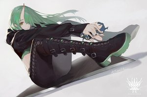 Rating: Safe Score: 71 Tags: arknights atianshi boots doll green_eyes green_hair hoodie horns hoshiguma_(arknights) long_hair signed User: BattlequeenYume