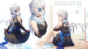 Rating: Safe Score: 53 Tags: aqua_eyes book cake elbow_gloves eyepatch food gloves gray_hair ji_dao_ji long_hair necklace original ponytail skirt skirt_lift water wings User: RyuZU