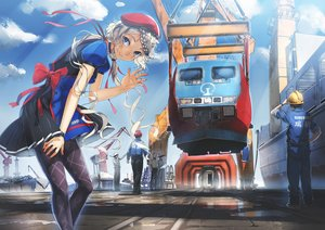 Rating: Safe Score: 81 Tags: aoki_(miharuu) apron blue_eyes braids choker clouds gray_hair group hat industrial male original pantyhose scenic seifuku train User: Flandre93