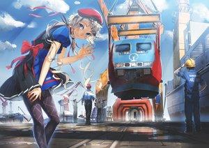 Rating: Safe Score: 86 Tags: aoki_(miharuu) apron blue_eyes braids choker clouds gray_hair group hat industrial male original pantyhose scenic school_uniform train User: Flandre93