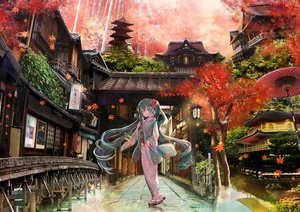 Rating: Safe Score: 33 Tags: autumn building green_eyes green_hair hatsune_miku japanese_clothes kimono leaves long_hair reflection s.misaki816 tree twintails vocaloid water User: BattlequeenYume