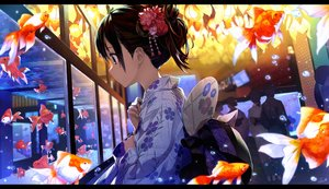 Rating: Safe Score: 135 Tags: amagai_tarou animal brown_hair fan fish green_eyes japanese_clothes original short_hair yukata User: RyuZU