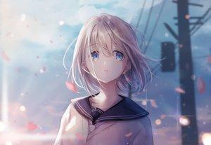 Rating: Safe Score: 61 Tags: blue_eyes close gray_hair idolmaster idolmaster_shiny_colors magako petals school_uniform serizawa_asahi short_hair User: RyuZU