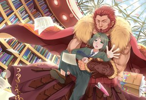 Rating: Safe Score: 9 Tags: alexander_(fate) all_male book brown_hair cape clouds fate_(series) fate/stay_night fate/zero green_eyes green_hair hongmao hug male paper short_hair sky tie waver_velvet User: RyuZU