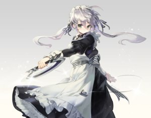Rating: Safe Score: 57 Tags: apron blush dress gradient gray_hair green_eyes headdress long_hair maid olys original ribbons signed twintails weapon User: RyuZU