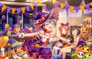 Rating: Safe Score: 28 Tags: animal_ears annin_doufu bow brown_hair building catgirl cat_smile chocolate choker city couch dress food gloves gray_hair halloween hat idolmaster idolmaster_cinderella_girls idolmaster_cinderella_girls_starlight_stage maekawa_miku night ponytail pumpkin ribbons short_hair skirt tagme_(character) tail witch_hat wristwear User: luckyluna