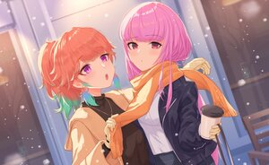 Rating: Safe Score: 26 Tags: 2girls blush drink gloves hololive hoodie long_hair makamati mori_calliope necklace orange_hair pink_hair ponytail purple_eyes red_eyes scarf shoujo_ai takanashi_kiara winter User: otaku_emmy