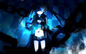 Rating: Safe Score: 60 Tags: black_rock_shooter blue_eyes bra cape chain kuroi_mato long_hair underwear User: korokun