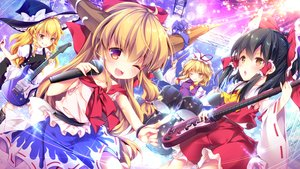 Rating: Safe Score: 34 Tags: drums enjoy_mix group guitar hakurei_reimu ibuki_suika instrument japanese_clothes kirisame_marisa loli miko touhou witch yakumo_yukari User: RyuZU