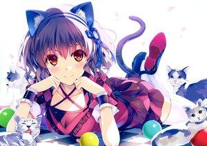 Rating: Safe Score: 93 Tags: animal animal_ears brown_eyes cat catgirl cherry_blossoms dress jura_basil_elden misaki_kurehito original purple_hair scan short_hair tail User: BattlequeenYume