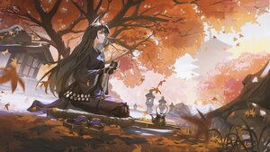 Rating: Safe Score: 79 Tags: animal_ears arknights autumn brown_hair building codec007 gloves grass leaves long_hair saga_(arknights) sky tree User: BattlequeenYume