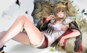 Rating: Safe Score: 132 Tags: 666_(ro_ro_ro3) aliasing animal animal_ears arknights breasts brown_eyes brown_hair catgirl choker cleavage lion long_hair open_shirt ponytail shorts siege_(arknights) User: BattlequeenYume
