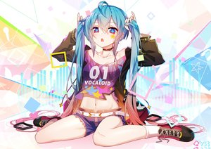 Rating: Safe Score: 194 Tags: aqua_eyes aqua_hair bai_yemeng choker hatsune_miku navel shorts socks tattoo twintails vocaloid watermark User: BattlequeenYume
