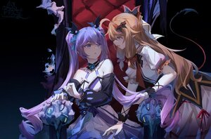 Rating: Safe Score: 76 Tags: 2girls a-soul ava_(a-soul) brown_hair diana_(a-soul) dress long_hair moyu_marginal pointed_ears purple_hair twintails watermark User: BattlequeenYume