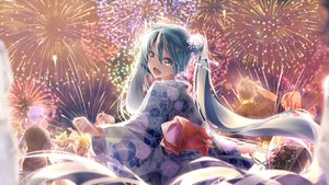 Rating: Safe Score: 35 Tags: aqua_eyes aqua_hair daidou_(demitasse) festival fireworks hatsune_miku japanese_clothes kagamine_len kagamine_rin kaito long_hair megurine_luka meiko night summer twintails vocaloid yukata User: Fepple