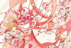 Rating: Safe Score: 55 Tags: blonde_hair cherry_blossoms fan flowers headdress japanese_clothes kimono orange_eyes polychromatic sakura_(tsubasa) satsuki_(miicat) tsubasa_reservoir_chronicle User: FormX