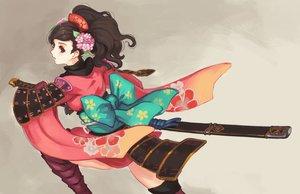 Rating: Safe Score: 78 Tags: armor bow brown_eyes brown_hair doomfest flowers headdress japanese_clothes katana momohime oboro_muramasa ponytail samurai sword weapon User: FormX