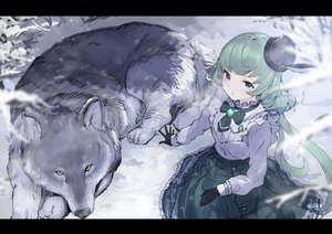 Rating: Safe Score: 69 Tags: aikatsu! alicia_charlotte animal blue_eyes gloves green_hair hat koruse lolita_fashion long_hair shirt sketch skirt snow wolf User: otaku_emmy