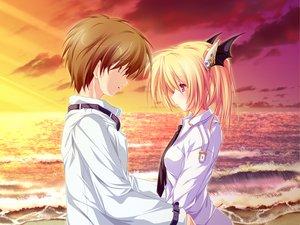 Rating: Safe Score: 54 Tags: beach blonde_hair clouds game_cg magus_tale nina_geminis red_eyes school_uniform sky tears tenmaso whirlpool User: Oyashiro-sama
