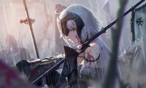 Rating: Safe Score: 192 Tags: armor blood fate/grand_order fate_(series) jeanne_d'arc_alter jeanne_d'arc_(fate) long_hair rain water wet white_hair yellow_eyes zonotaida User: BattlequeenYume