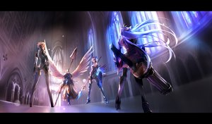 Rating: Safe Score: 263 Tags: aegis armor crossover gun gwendolyn headphones kos-mos lenneth_valkyrie negresco odin_sphere persona persona_3 spear staff thighhighs valkyrie_profile weapon wings xenosaga User: STORM