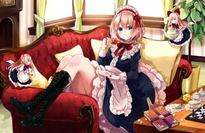 Rating: Safe Score: 98 Tags: alice_margatroid blonde_hair blue_eyes book boots bow couch doll dress drink flowers green_eyes headdress kisaragi_yuri lolita_fashion long_hair rose shanghai_doll short_hair touhou User: BattlequeenYume
