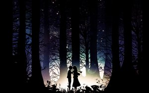 Rating: Safe Score: 142 Tags: black dark dress eren_jaeger harada_miyuki long_hair mikasa_ackerman scarf shingeki_no_kyojin short_hair silhouette stars tree User: ryancklam