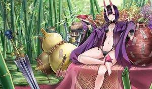 Rating: Safe Score: 89 Tags: barefoot breasts fate/grand_order fate_(series) horns jeffrey10 navel ofuda purple_eyes purple_hair short_hair shuten_douji_(fate) sword weapon User: RyuZU