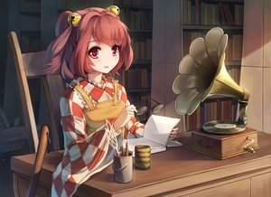 Rating: Safe Score: 147 Tags: bell blush book drink glasses instrument motoori_kosuzu pink_eyes red_eyes red_hair touhou xiaoyin_li User: Flandre93