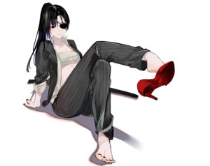 Rating: Safe Score: 53 Tags: aliasing barefoot black_eyes black_hair eyepatch gintama katana long_hair nello_(luminous_darkness) open_shirt ponytail sarashi suit sword underwear weapon white yagyuu_kyuubei User: BattlequeenYume