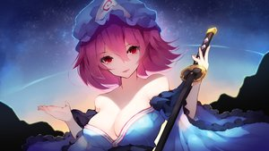 Rating: Safe Score: 81 Tags: breasts chiroru_(cheese-roll) cleavage close hat japanese_clothes katana pink_hair red_eyes saigyouji_yuyuko short_hair sky stars sunset sword touhou weapon User: otaku_emmy