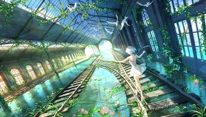 Rating: Safe Score: 120 Tags: animal barefoot bird dress flowers grass original scenic short_hair train water watermark wenqing_yan_(yuumei_art) white_hair User: RyuZU