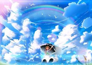 Rating: Safe Score: 72 Tags: animal bird clouds dress hat original rainbow scenic sky skyt2 umbrella User: Flandre93