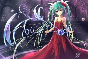 Rating: Safe Score: 111 Tags: aqua_hair dress flowers green_eyes hatsune_miku hc long_hair planet rose signed twintails vocaloid User: Flandre93
