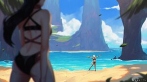 Rating: Safe Score: 36 Tags: 2girls ass beach bikini black_hair blonde_hair breasts dark_skin elezen final_fantasy final_fantasy_xiv hilda_ware hyur koyorin long_hair miqo'te ponytail short_hair signed swimsuit water User: SciFi