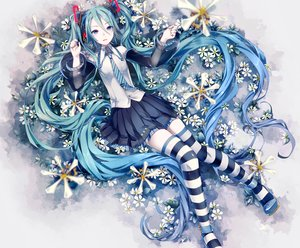 Rating: Safe Score: 212 Tags: aqua_hair blue_eyes hatsune_miku hatsune_miku_(vocaloid3) ikushima long_hair skirt thighhighs tie twintails vocaloid zettai_ryouiki User: Flandre93
