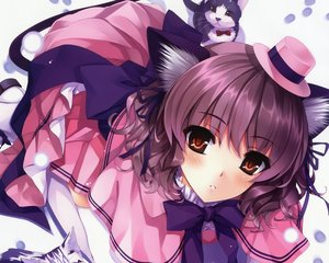 Rating: Safe Score: 155 Tags: animal animal_ears brown_hair cat catgirl cropped hat misaki_kurehito orange_eyes original scan skirt tail thighhighs User: mattiasc02