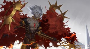 Rating: Safe Score: 31 Tags: all_male blue_eyes fate/apocrypha fate_(series) gradient gray_hair karna male short_hair sunligh_mao weapon User: RyuZU
