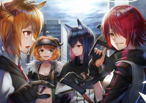 Rating: Safe Score: 23 Tags: animal_ears arknights black_hair breasts building city cleavage close clouds croissant_(arknights) exusiai_(arknights) group horns long_hair orange_hair red_hair short_hair sho_(sumika) sky sora_(arknights) texas_(arknights) User: Dreista