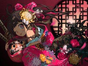 Rating: Safe Score: 136 Tags: bow brown_hair flowers haku_(sabosoda) japanese_clothes katana kimono original petals rose sword tattoo weapon wink User: opai