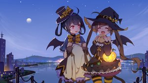Rating: Safe Score: 112 Tags: 2girls anthropomorphism azur_lane black_hair bow brown_hair building city halloween hat long_hair mosquito_coils night ning_hai_(azur_lane) ping_hai_(azur_lane) pumpkin scenic short_hair sky thighhighs twintails water wings witch_hat User: RyuZU