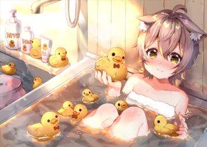 Rating: Safe Score: 71 Tags: animal_ears annin_miru annin_miru_channel bath bathtub blush catgirl cat_smile gray_hair loli rubber_duck short_hair towel usagihime yellow_eyes User: RyuZU