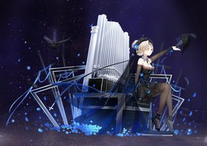 Rating: Safe Score: 74 Tags: animal anthropomorphism azur_lane bird cropped cross dress gothic headdress instrument maya_g pantyhose petals ribbons sheffield_(azur_lane) User: BattlequeenYume