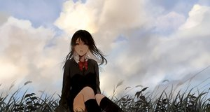Rating: Safe Score: 71 Tags: bow brown_eyes brown_hair clouds grass kneehighs long_hair mikuro_(396) original school_uniform skirt sky tears User: otaku_emmy