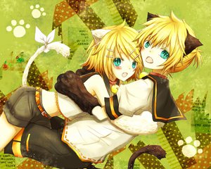 Rating: Safe Score: 26 Tags: animal_ears blonde_hair catboy catgirl hug kagamine_len kagamine_rin male tail utaori vocaloid User: HawthorneKitty
